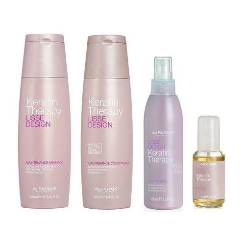 Alfaparf keratin therapy maintenance | zestaw podtrzymujący efekt wygładzenia: szampon 250ml + odżywka 250ml + mleczko 100ml + olejek 50ml