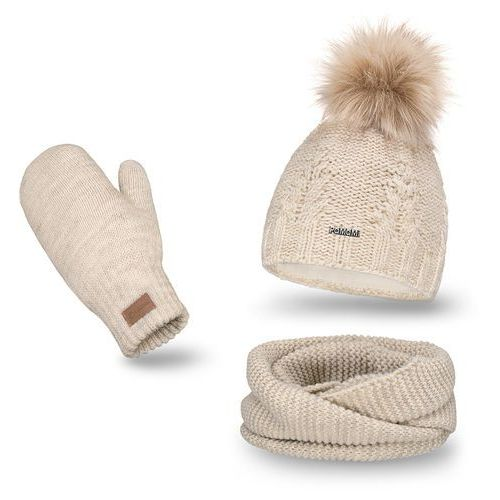 Komplet PaMaMi, czapka, komin i rękawiczki - Beżowy - Beżowy (5902934055383)