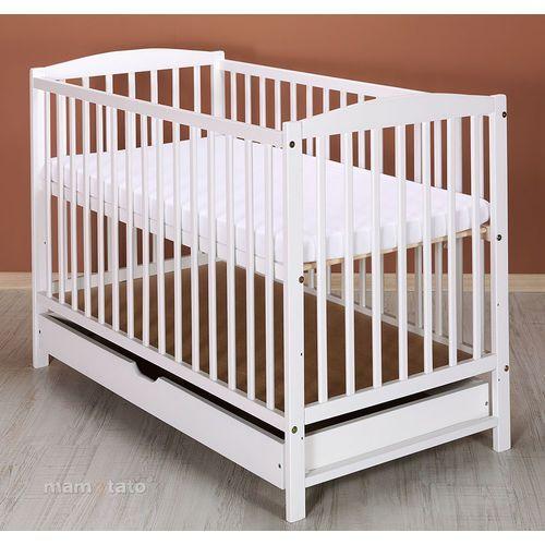 MAMO-TATO Łóżeczko dla niemowląt MAJA 60x120 cm z szufladą - Białe
