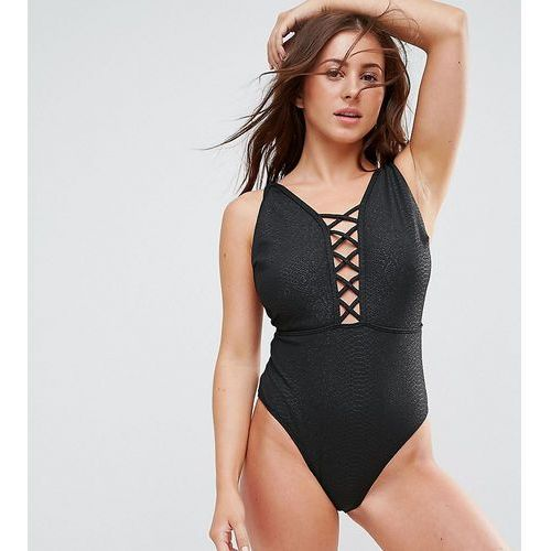 Wolf & Whistle Croc Printed Lattice Plunge Swimsuit DD - G Cup - Black