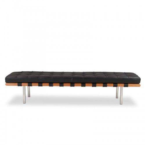 Czarna ławka 198 cm skóra naturalna inspirowana projektem barcelona marki Design town