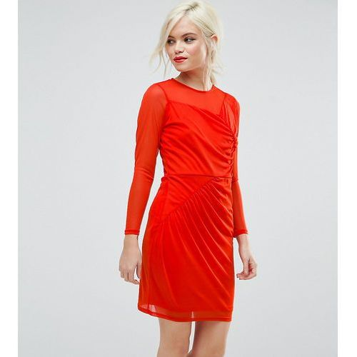 Asos petite mesh mini dress with ruched details - red