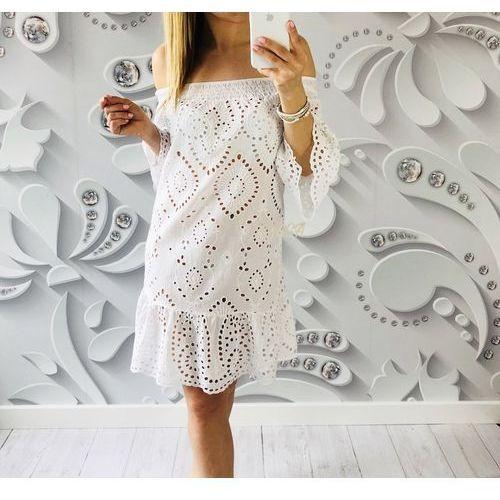 sukienka INA BOHO biała, kolor biały