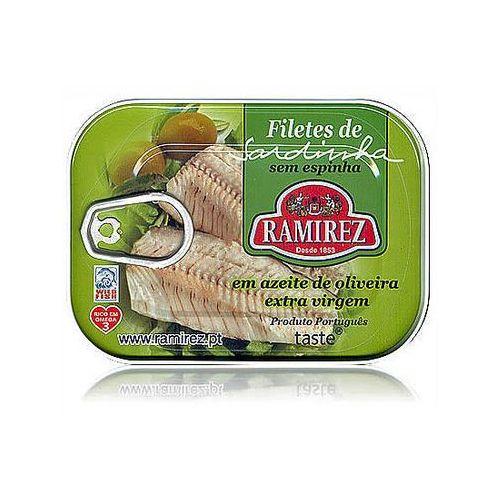 Ramirez Filety z sardynek portugalskich w oliwie extra virgin, z kawałkami oliwek 100g. (5601010211087)