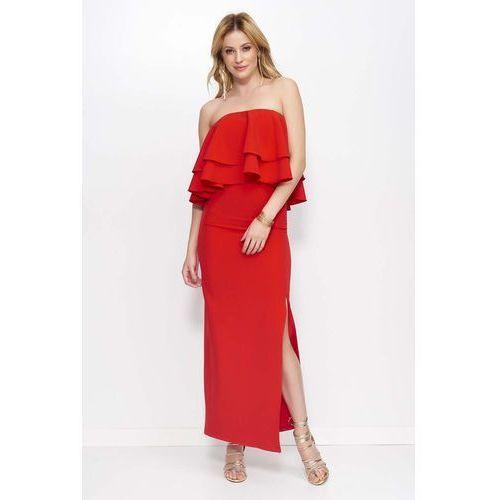 Czerwona sukienka maxi wieczorowa z rozcięciem na boku marki Makadamia