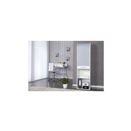 Szafka biało srebrna 165 cm regał biurowy szafka do biura z rolowanym frontem (szafka do salonu) od MODO