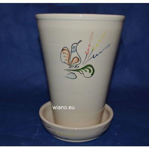 Ceramika bolimowska - doniczka z podstawką wys. 19 cm