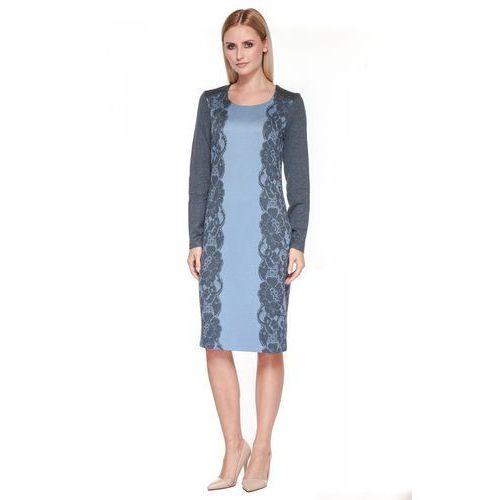 Błękitna sukienka z drukiem koronki - Potis & Verso, 1 rozmiar