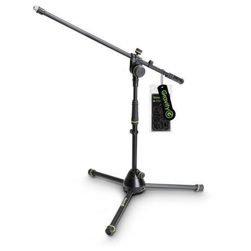 Gravity ms 4221 b statyw mikrofonowy, krótki, z trójnożną, składaną podstawą i dwupunktową regulacją wysięgnika