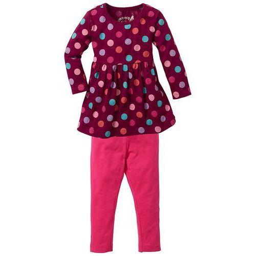 Sukienka + legginsy (2 części) bonprix jeżynowo-ciemnoróżowy w groszki (sukienka dziecięca)