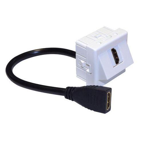 IP-M45-HDMI-20CM-KĄT Adapter Mosaic 45x45, gniazdo HDMI-HDMI na kablu 20 cm, kątowy, IP-M45-HDMI-20CM-KĄT