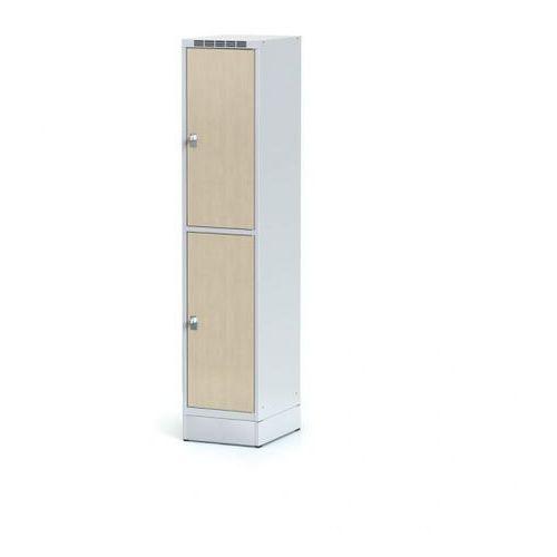 Alfa 3 Szafka ubraniowa 2 drzwi 400x400 mm na cokole, drzwi lpw, brzoza, zamek obrotowy