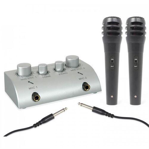 Skytec 2-kanałowy minimikser karaoke z 2 mikrofonami (8715693066265)