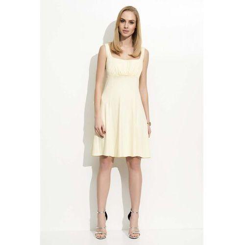 Żółta Sukienka na Szerokich Ramiączkach, kolor żółty