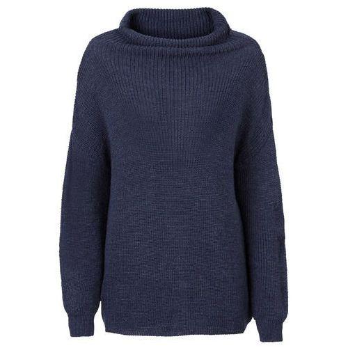 Sweter dzianinowy oversize z golfem bonprix ciemnoniebiesko-czarny melanż