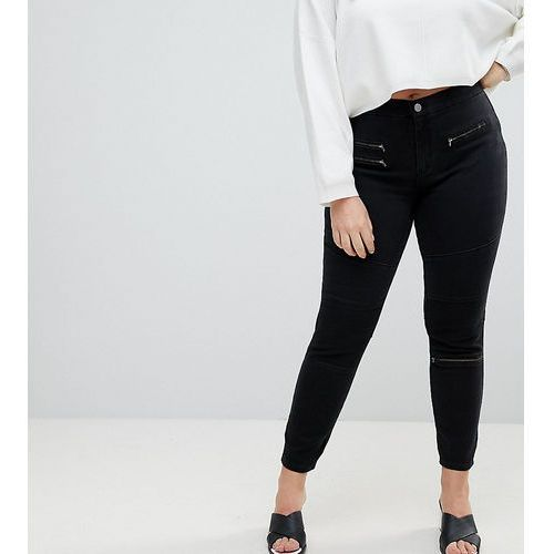 ASOS DESIGN Curve 'Sculpt me' high waisted premium jeans in coated black with biker styling - Black, z