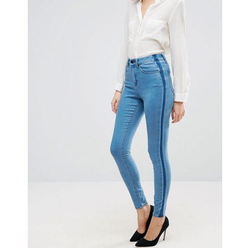 'sculpt me' premium jeans in dee mid blue wash with shadow side panel - blue marki Asos