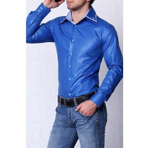 4202-2 Koszula męska slim fit- połysk - niebieski