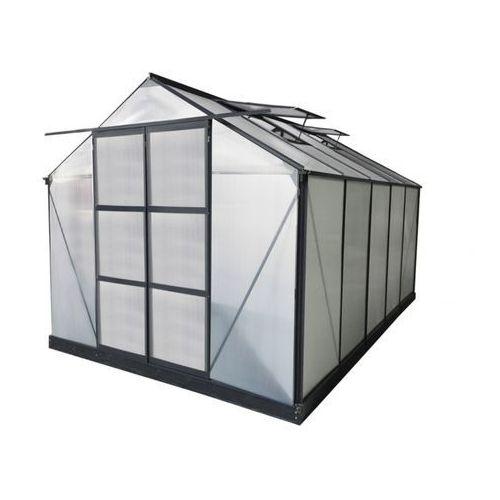 Vente-unique Szklarnia ogrodowa z poliwęglanu o pow. 9 m² corolle ii z podstawą - antracytowa -