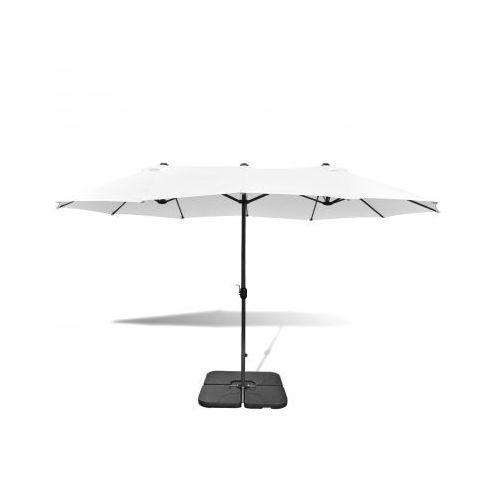 Biały parasol ogrodowy z aluminiową ramą i przenośną podstawą 2,7 x 4,6 m, vidaXL z VidaXL
