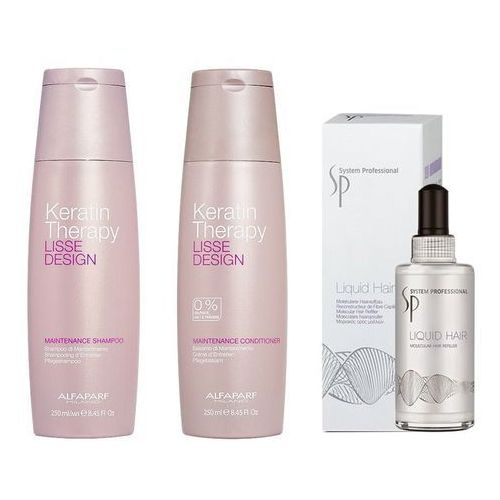 Alfaparf Keratin Therapy Maintenance and SP Liquid Hair | Zestaw do wygładzenia i regeneracji włosów: szampon + odżywka 250ml + serum 100ml