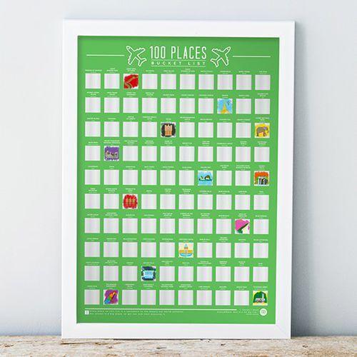 Plakat Zdrapka 100 Miejsc jakie trzeba odwiedzić w życiu