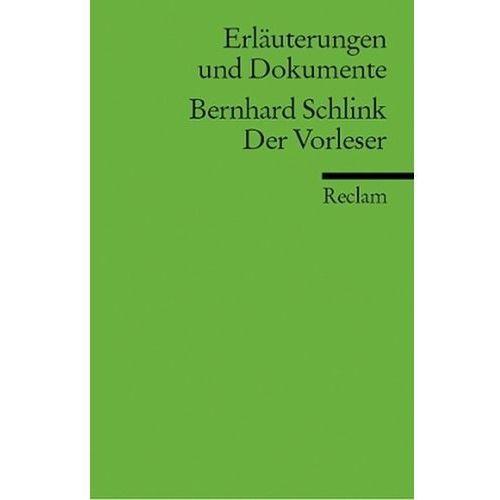 Bernhard Schlink 'Der Vorleser' (9783150160503)