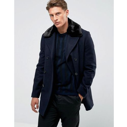 French connection double breasted wool coat with faux fur collar - navy