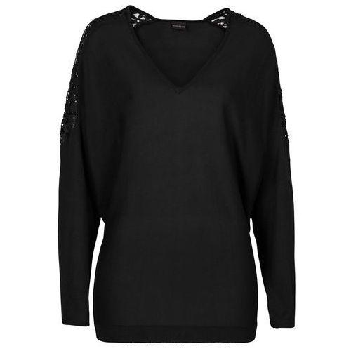 Bonprix Sweter z gładkiej dzianiny z koronką czarny