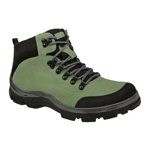 Trzewiki trekkingowe zimowe KORNECKI 3854 Zielone TEX ocieplane - Zielony ||Czarny