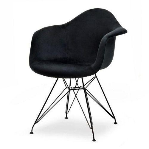 Meblemwm Krzesło skandynawskie art105c czarny welur nogi czarne metalowe