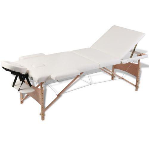 kremowy składany stół do masażu 3 strefy z drewnianą ramą, marki Vidaxl
