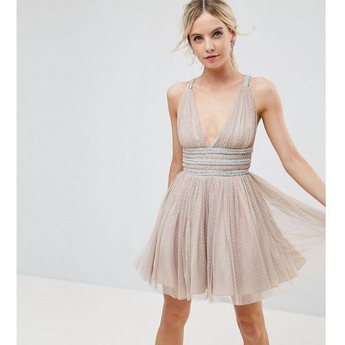 tulle strappy embellished mini skater dress - beige marki Asos petite