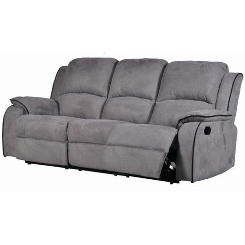 Vente-unique 3-osobowa sofa z funkcją relaks z mikrofibry hernani - szary