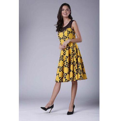 2136513bb2199e Rozkloszowana Sukienka Midi z Prześwitującym Karczkiem, w 6 rozmiarach 158,90  zł Material: poliester 60% wiskoza 40%.Dostepne wymiary: XS (34), S (36),  ...