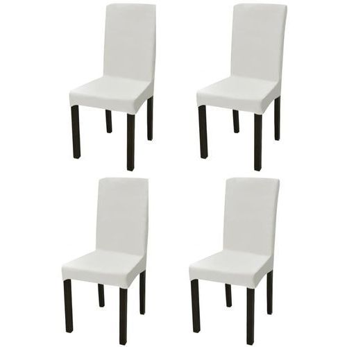 elastyczne pokrowce na krzesło w prostym stylu kremowe, 4 szt. marki Vidaxl