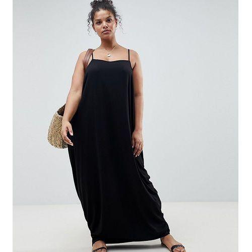 Asos design curve tab back drape hareem maxi dress - black marki Asos curve
