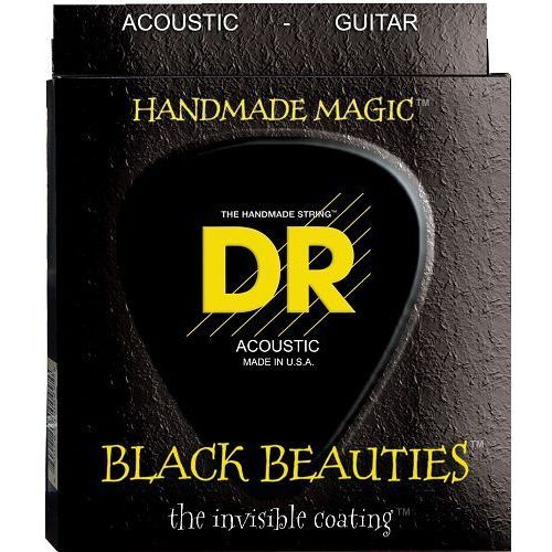 DR K3 BLACK BEAUTIES ″ struny do gitary akustycznej, Coated Phosphor Bronze, Custom Light,.011-.050