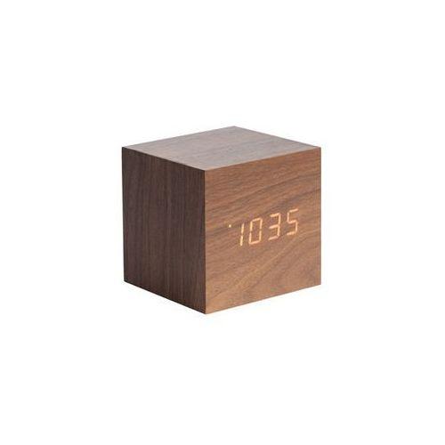 Zegar stołowy, budzik mini cube dark wood, led by marki Karlsson