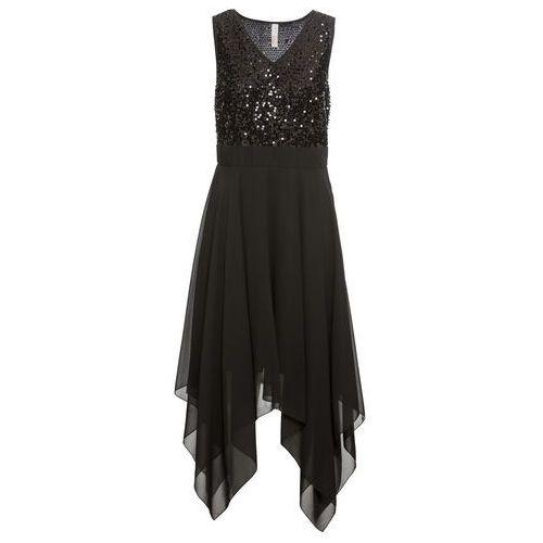 Bonprix Sukienka wieczorowa z cekinami czarny
