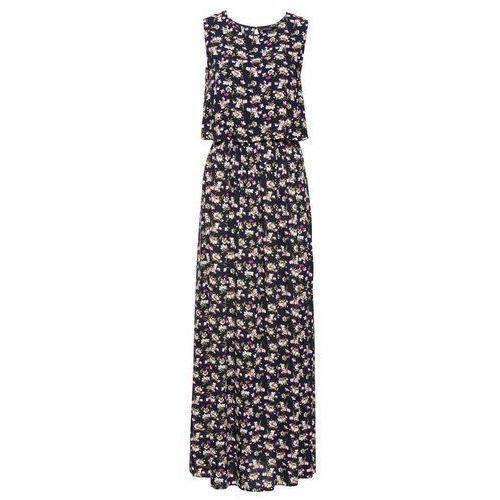 Długa sukienka w kwiaty ciemnoniebieski w kwiaty, Bonprix, 34-44