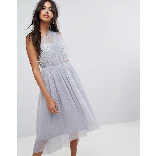 ASOS PREMIUM Crystal Bodice Tulle One Shoulder Midi Prom Dress - Grey