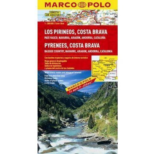Hiszpania. Pireneje, Costa Brava 1:300 000. Mapa samochodowa, składana. Marco Polo, Marco Polo