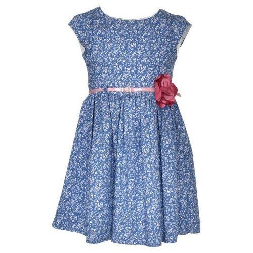 Kwiecista sukienka z paskiem, kolor niebieski