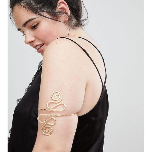 ASOS DESIGN Curve exclusive arm cuff with swirl design in gold - Gold