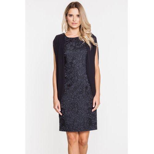 Żarakardowa sukienka wieczorowa w czarnym kolorze - Potis & Verso, kolor czarny