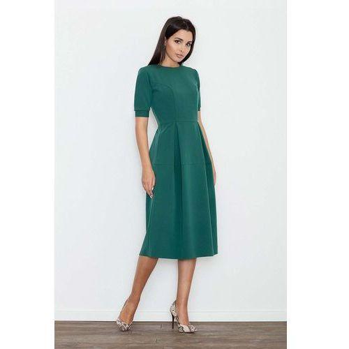 Zielona Sukienka Elegancka Wizytowa Midi, 1 rozmiar