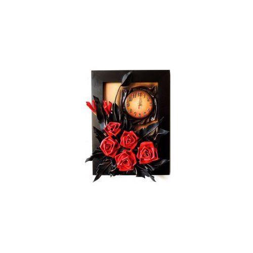 RÓŻE W KOLORZE MEKSYKAŃSKA CZERWIEŃ - obraz z zegarem ze skóry - K3Z-13