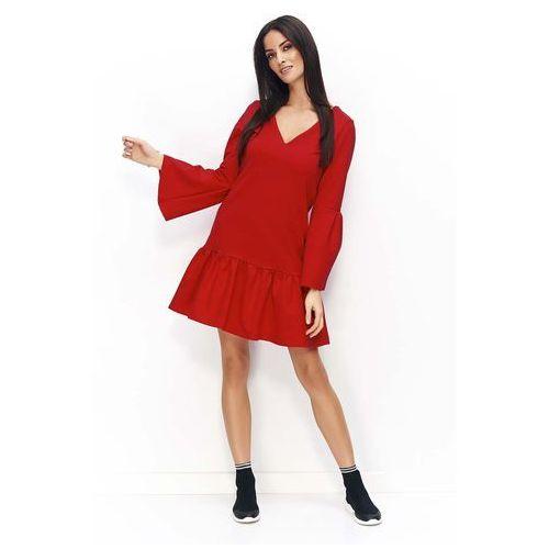 ca0c5f92e6 Czerwona sukienka z falbanką na dole i poszerzonymi rękawami
