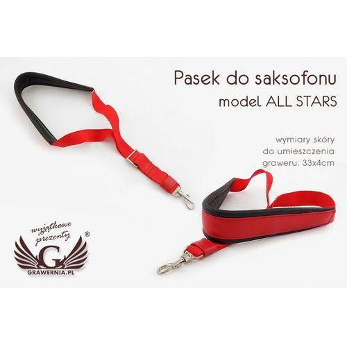 Pasek do saksofonu czerwono - czarny - model: all stars- wersja komfort - pds12 marki Grawernia.pl - grawerowanie i wycinanie laserem